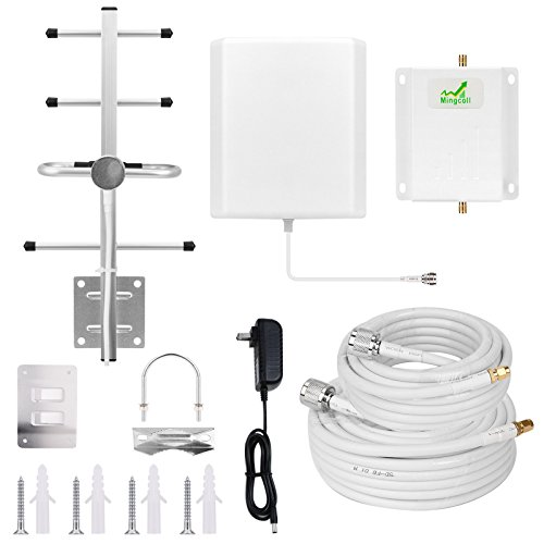 Cell Phone Signal Booster Mingcoll Cell Phone Signal Repeater Booster Verizon 4G Lte 700MHz Band 13 for Home and Office (Panel/Yagi(white-Verizon Band 13-NQY))