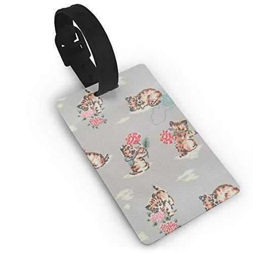 Diemeouk Luggage Tags for Suitcases Cat Flower Leaves