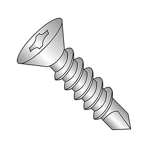 Countersunk Self Tapping Screw - 410 Stainless Steel Self-Drilling Screw, Plain Finish, 82 Degree Flat Head, Phillips Drive, #3 Drill Point, 1/4