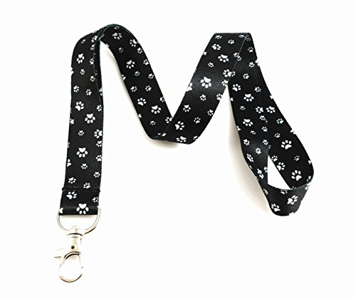 Dog Themed Lanyard Key Chain Id Badge Holder (Paw Print Black/White) -