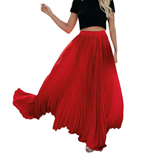 Long Skirt Women Solid Color High Waist Shirring Fashion Ankle-Length Maxi Skirt (XXL, Red)