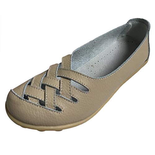 Heheja Mujer Mocasines de Cuero Hueco Loafers Casual Zapatos de Conducción Beige