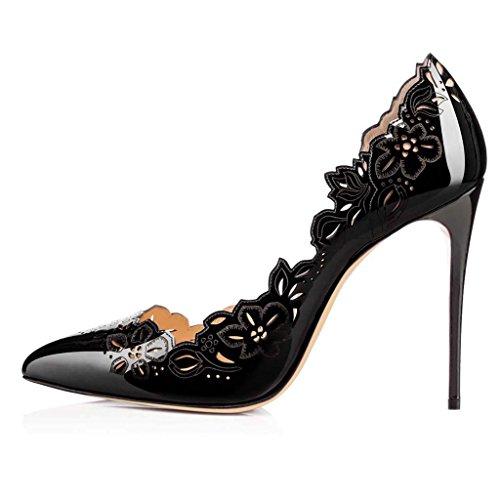 SHEO sandalias de tacón alto Señoras hueco punta de zapatos de charol un pedal de tacones altos Negro