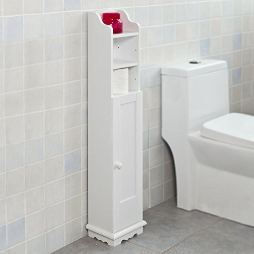 Haotian FRG177-W, White Free Standing Wooden Bathroom Toilet Paper Roll Holder Storage Cabinet Holder Organizer Bath Toilet - Small Bathroom Storage