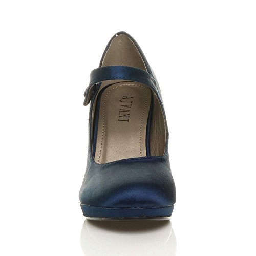 Chaussures Soir Pointure Travail Foncé Bleu Satin Babies Escarpins Femmes Mary Jane Haut Talon Marine Ajvani xCZXwqRzW