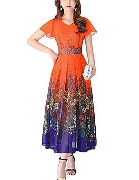 ZLL Mujer Corte Swing Vestido Noche Casual/Diario Vacaciones Vintage Chic de Calle,Floral