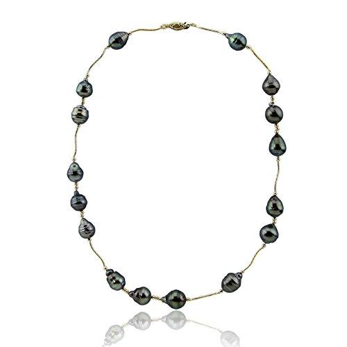14K Or jaune-Collier Femme-Perles de culture de Tahiti 45,7cm