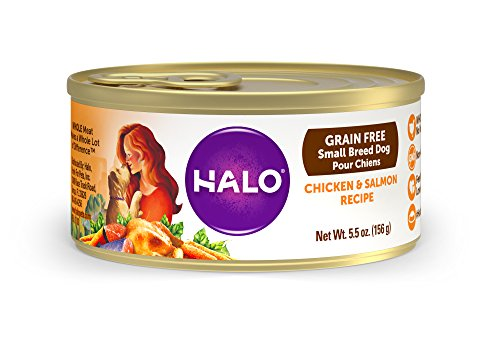 Halo Holistic Wet Dog Food for Small Breed Dogs, Grain Free Chicken and Salmon, 5.5 OZ of Canned Small Breed Dog Food, 12 Cans