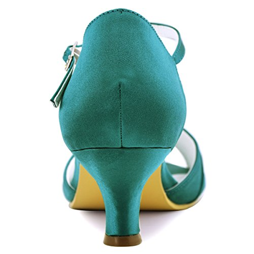 ElegantPark EL-035 Women Peep Toe T-Strap Pumps Mid Heel Rhinestones Satin Evening Prom Dress Shoes Teal US 10