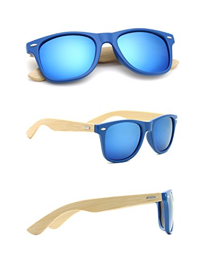 TIJN Bamboo Wood Temple Color Lens Wayfarer - Prescription Buy Online Sunglasses
