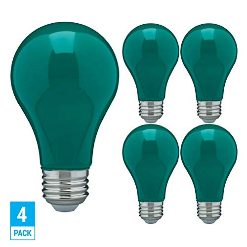 ((Pack of 4) LED 8-Watt Green Color A19 Dimmable Party Light Bulb - 120V E26 Energy Saving Standard Medium Base - Omni 360 Multi Directional Ceramic Green Colored Lamp - Replaces 60W Traditional Incand)