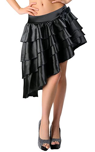 Killreal Women's Burlesque Satin Ruffles High-low Dancing Party Skirt Black XX-Large