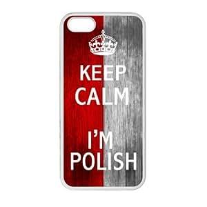Slim And Stylish Keep Calm I'm Polish Wood Polish Flag Pattern iPhone 5 5S TPU(Laser Technology) Case Cover for White And Black