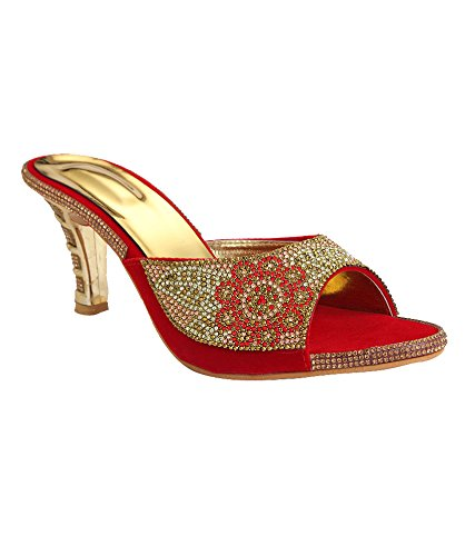 79877d6e34cf5e Real Comfort Pencil Hill Party Wear Slip On Sandal For Women   Girls  Buy  Online at Low Prices in India - Amazon.in