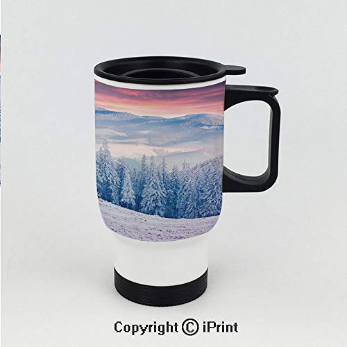 Car Cup Vacuum Insulated Keeps Hot Or Cold,Calm Scenic Sunrise Scenery in the Carpathian Mountains Countryside Environment,Great for Home and Travel 15 OZ Travel Car Cup ()