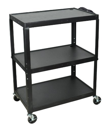Luxor AVJ42XL A/V Cart, Extra Wide, Adjustable Height, Steel ()