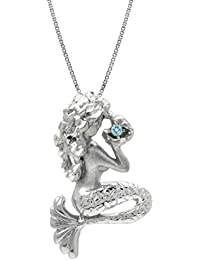 Sterling Silver and Blue Topaz Mermaid Necklace Pendant...