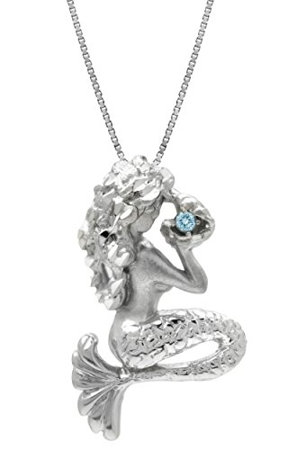 Sterling Silver and Blue Topaz Mermaid Necklace Pendant with 18