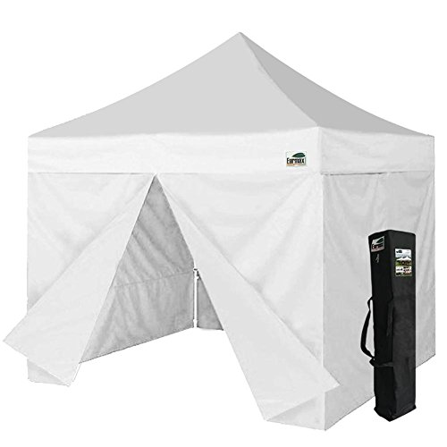 Eurmax 10 X 10 Ez Pop up Canopy Gazebo Commercial Tent with 4 Zippered Sides and Carry Bag, White