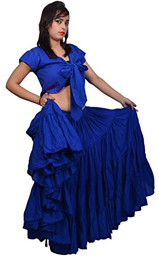 Wevez Women's Gypsy 25 Yard Solid Color Cotton Skirt, One Size, Royal Blue