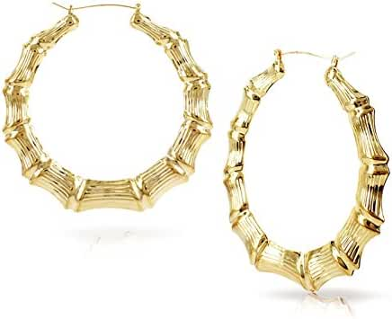 Gold Tone Hollow Casting Round Bamboo Hoop Earrings, 2.5 Inches