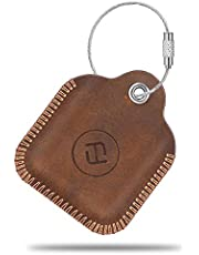Fintie Genuine Leather Case for Tile Mate/Tile Pro/Tile Sport/Tile Style/Cube Pro Key Finder Phone Finder, Anti-Scratch Protective Skin Cover with Keychain, Brown