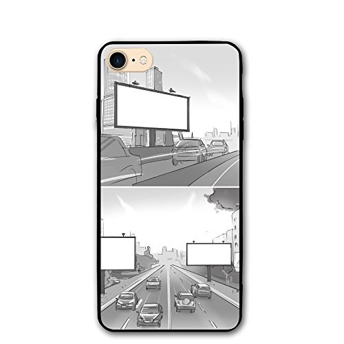 ZhiqianDF Set Of Two Drawings With Street Billboards IPhone 8 Case 4.7 Enhanced Grip Premium Scratch Resistant Protective Cases Hard PC Back Cover For IPhone (Sahara Mini Set)