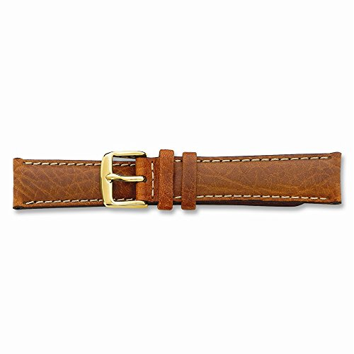 18mm Havana Lthr Wht Stitch Gold-tone Buckle Watch Band ()