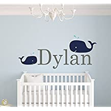 Wall Decal Letters Custom Whale Name Wall Decals For Boys - Baby Room Decor - Nursery Wall Decals - Boys Room Decor - Nursery Nautical Wall Decals (35Wh)for Living Room