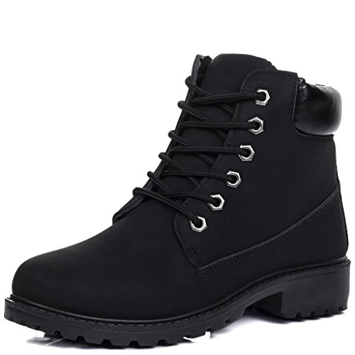 SPYLOVEBUY MORGAN Women's Lace Up Flat Ankle Boots Shoes Black Leather Style