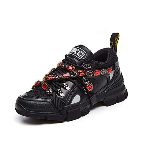 De Cordones Patchwork Primavera Deporte Lujo Cuero Con Rhinestone Cristal Zapatillas Correas Malla Mujeres Zapatos Negro Plataforma Otoño q7PKz8yty