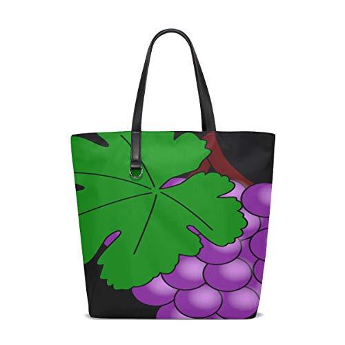 DKGFNK Women Grapes Fruit Purple Vine Leaves Food Grapevine Handle Satchel Handbags Shoulder Bag Tote Purse Messenger ()