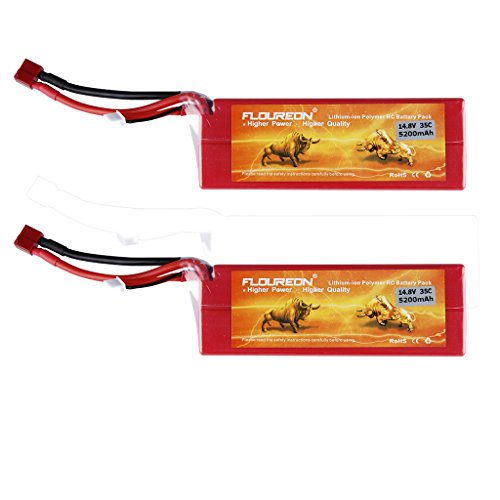 Floureon 14.8V 5200mAh 4S 35C Li-polymer Lipo Battery 2 Packs with Deans Plug for RC Hobby, Airplane, Helicopter, Car, Boat (5.51 x 1.89 x 1.89 Inch)
