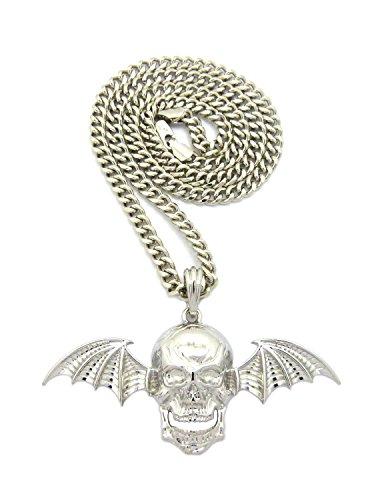 Crescendo SJ INC New Skull Wing Avenged Sevenfold Pendant &5mm/24 Cuban Chain Hip HOP Necklace - - Wings Sevenfold Avenged