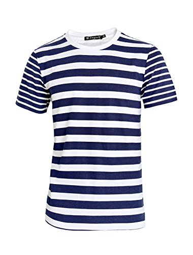 Allegra K Men Crew Neck Stripes Pattern Short Sleeves Tee Shirt Blue (Stripe T-shirt)