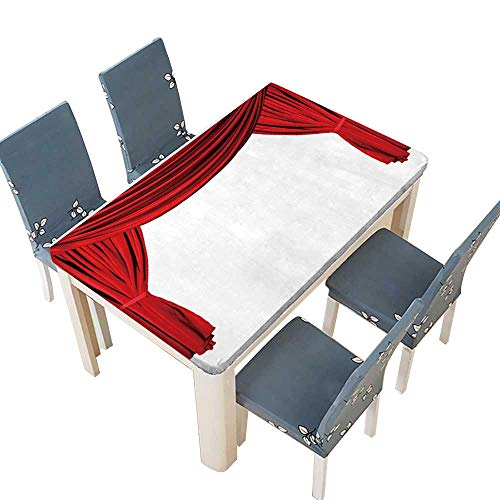 PINAFORE Fitted Polyester Tablecloth Isolated Red Draped Theater Curtains Series Wedding Restaurant Party Decoration W33.5 x L73 INCH (Elastic Edge) - Series French Classic Pool
