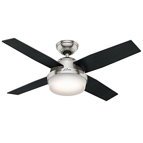 Hunter Indoor Ceiling Fan with light and remote control – Dempsey 44 inch, Brushed Nickel, 59245