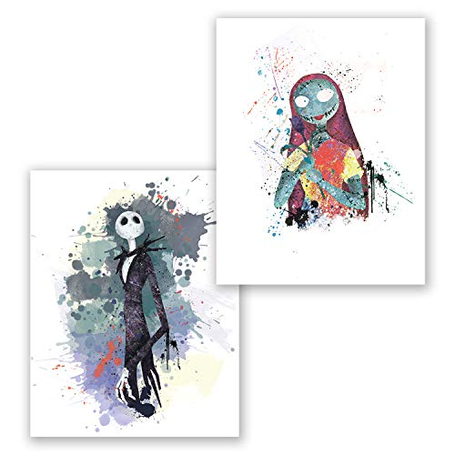 PGbureau Nightmare Before Christmas Poster- Set of 2 - Sally Prints - Jack Inspired - Wall Home Décor (8x10) -