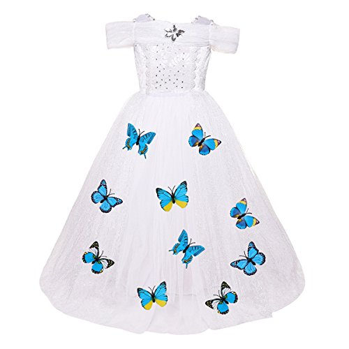 (Cinderella Costume Little Big Girl Lace Flower Butterfly Tutu Dress Princess Pageant Wedding Birthday Formal Gown White 4-5 Years)
