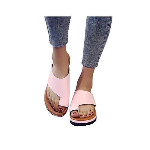 Dressin Women Comfy Platform Sandal Shoes Summer Beach Travel Shoes,PU Leather Casual Feet Correct Flat Sole Dating Shopping Soft Women Sandal Pink