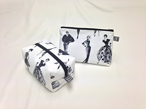 Black & White Chic Toiletry/Makeup Bag Set by Candace Sormani