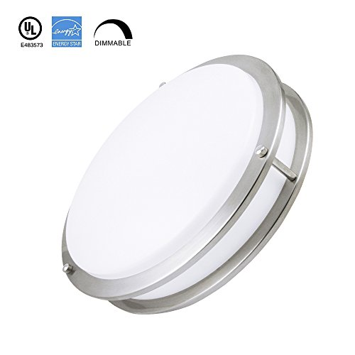 Shaped Disk Pack (Worbest LED Interior Flush Mount Ceiling Dec Light, Disc Shaped Thinnest Round Dimmable Lighting Fixture, Direct Wire Lights, 14 Inch 25W 4000K 1850 Lumens, ETL & DLC Listed (14 IN, 25 W))