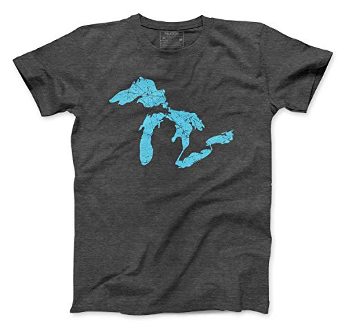 Great Lakes of Michigan Shirt Outline of Lake Michigan Superior Huron Ontario Erie Soft-Blend T-Shirt Printed in Michigan (Great Lakes of Michigan Premium T-Shirt, XXXL)