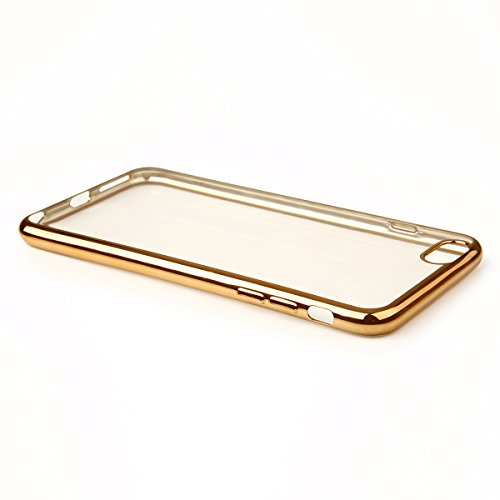 In silicone TPU cromo Case Cover protettiva per cellulare metallizzato Back Case con custodia trasparente colorata bordo cover contenitore retro Sparkles Bumper, Plastica, gold, für iPhone 6/6s Plus 5