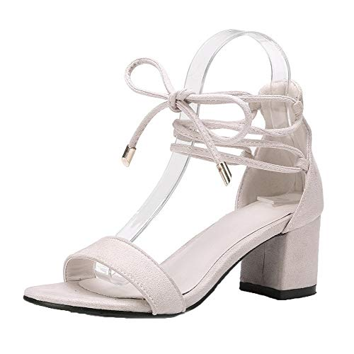 AalarDom Women's Lace-Up Open-Toe Kitten-Heels Frosted Solid Sandals, TSDLH007524, Beige, 42 by AalarDom
