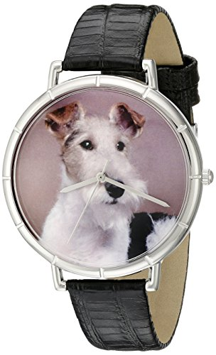 Fox Terrier Whimsical Watches Women's T0130039 Black Leather And Silvertone Photo Watch
