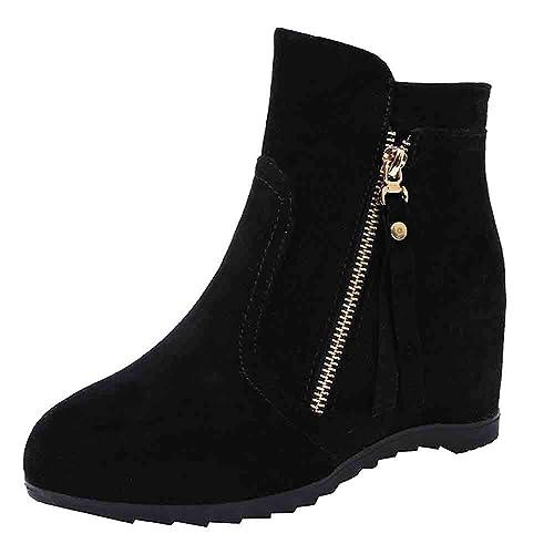 Botines cuña para Mujer Otoño Invierno 2018 Moda PAOLIAN Botas Militares Terciopelo tacón Altas con Cremallera Lateral Zapatos Señora Calzado Dama Botas de ...