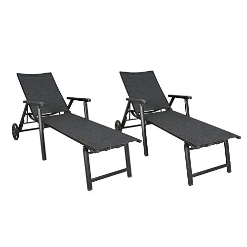 Ulax Furniture Outdoor Aluminum Chaise Lounge Chair Patio Adjustable Lounger with Wheels, Set of 2