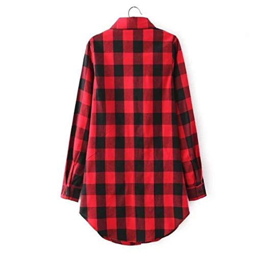 M Taille Plaid Red dcontract r s Neuf et Chemise cossais Red Coton Shirt Chemisier Dbardeur Plaid Long Smallgirl Carreaux gaqTPZnn
