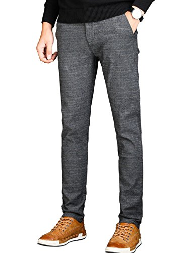 VEGORRS Men's Slim Fit Wrinkle-Free Casual Stretch Dress Pants,Fit Flat Front Trousers,Grey Pants (Flat Trousers Grey Front)